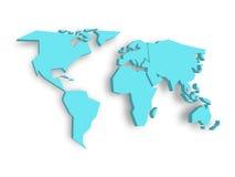 Blauwe 3D kaart van wereld met gelaten vallen schaduw op achtergrond Themabehang wereldwijd Teruggegeven driedimensionele EPS10 Royalty-vrije Stock Fotografie