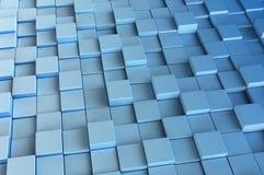 Blauwe 3d kubussen 3d geef achtergrond terug Stock Afbeelding