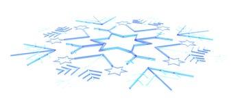Blauwe 3D sneeuwvlok Vector Illustratie