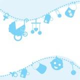 Blauwe de aankondigingskaart van de baby Stock Foto's