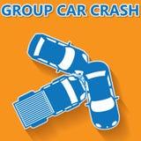 Blauwe de autoneerstorting van de kleurengroep op oranje achtergrond Stock Fotografie