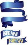 Blauwe de bannerslinten en flitsen van het Lint Royalty-vrije Stock Foto