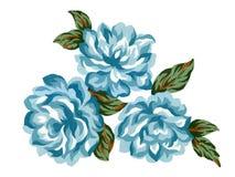 Blauwe de bloem van de waterverfgouache nam Kleurrijke het conceptenregelingen van boeket groene bladeren voor groetkaart of uitn royalty-vrije illustratie