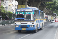 113 blauwe de busauto van Min Buri - van Hua Lamphong Royalty-vrije Stock Fotografie