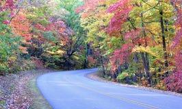 Blauwe de dalingskleur van het Brede rijweg met mooi aangelegd landschap van de Rand stock afbeelding