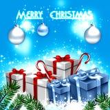 Blauwe de groetkaart van Kerstmis Royalty-vrije Stock Afbeeldingen