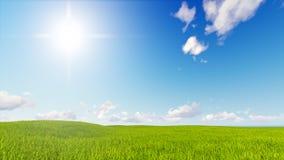 Blauwe de hemel van het landschaps het groene gras 3d teruggeven Royalty-vrije Stock Afbeeldingen