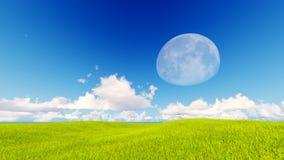 Blauwe de hemel van het landschaps het groene gras 3d teruggeven Royalty-vrije Stock Foto
