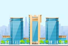 Blauwe de illustratiearchitectuur van stadshorizonnen Stock Fotografie