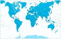 Blauwe de Kaart hoogst gedetailleerd van de kleurenwereld illustratie Stock Afbeelding