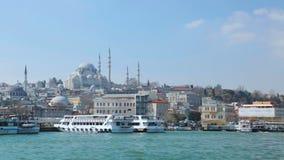 Blauwe de Moskee van Istanboel Turkije en van Hagia Sofia oriëntatiepunten, sightseeingsbestemmingen stock footage