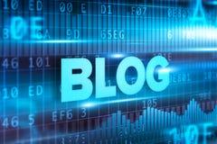 Blauwe de tekst blauwe achtergrond van het blog abstracte concept Stock Afbeelding
