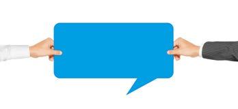 Blauwe de Toespraakbellen van de handenholding Royalty-vrije Stock Foto