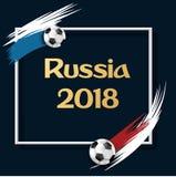 Blauwe de voetbalachtergrond van Rusland 2018 met ballen royalty-vrije illustratie
