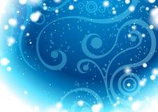 Blauwe de winterachtergrond met bloemenelementen Royalty-vrije Stock Afbeelding