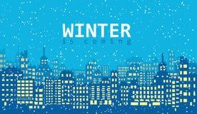 Blauwe de winterachtergrond met gebouwen en sneeuw Stock Fotografie