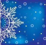 Blauwe de winterachtergrond met sneeuwvlok Stock Foto