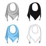 Blauwe de zomerbandana van de zon Bandana met knopen op de einden De sjaals en de sjaals kiezen pictogram in de vector van de bee stock illustratie