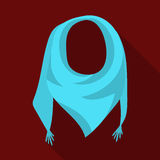 Blauwe de zomerbandana van de zon Bandana met knopen op de einden De sjaals en de sjaals kiezen pictogram in vlakke stijlvector u vector illustratie