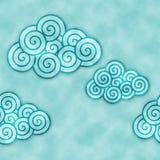 Blauwe decoratieve clounds watercolored achtergrondpatroon royalty-vrije illustratie