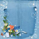 Blauwe denim geweven wijnoogst als achtergrond Stock Afbeeldingen
