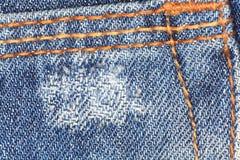 Blauwe denimtextuur, textiel, stof, steek Stock Fotografie