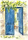 Blauwe deur Stock Afbeelding