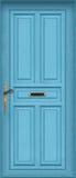 Blauwe deur - met brievenbus Royalty-vrije Stock Afbeeldingen