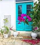 Blauwe deuren van Cyprus Stock Foto