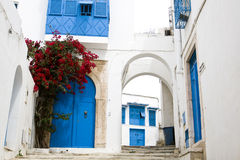 Blauwe deuren, venster en witte muur van het inbouwen van Sidi Bou Said Royalty-vrije Stock Foto's