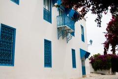 Blauwe deuren, venster en witte muur van het inbouwen van Sidi Bou Said Stock Foto