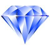 Blauwe diamant die op wit wordt geïsoleerdc Stock Foto's