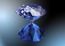 Blauwe diamant op witte achtergrond met het knippen van weg Stock Fotografie