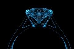 Blauwe diamantring vector illustratie