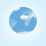 Blauwe die aardebol met driehoeken wordt gemaakt vector illustratie