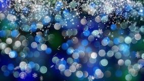 Blauwe die bokehachtergrond door neonlichten wordt gecreeerd 4K Royalty-vrije Stock Fotografie