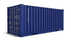 Blauwe die 3d Container op Wit wordt geïsoleerd Royalty-vrije Stock Foto
