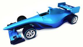 Blauwe die 3D formuleauto op wit hoger vooraanzicht wordt geïsoleerd Stock Afbeelding