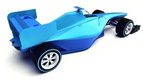 Blauwe die 3D formuleauto op witte hogere achtermening wordt geïsoleerd Stock Afbeelding