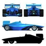 Blauwe die 3D formuleauto op witte orthogonal mening wordt geïsoleerd Stock Foto