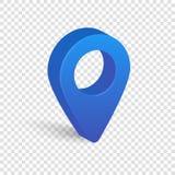 Blauwe die 3d wijzer van kaart op transparante achtergrond wordt geïsoleerd royalty-vrije illustratie