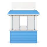 Blauwe die kiosk op een witte achtergrond wordt geïsoleerd het 3d teruggeven Stock Afbeeldingen