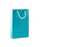 Blauwe die kleurendocument zak op witte achtergrond wordt geïsoleerd Royalty-vrije Stock Foto