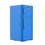 Blauwe die koelkast op wit wordt geïsoleerd Stock Foto