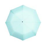 Blauwe die paraplu op wit wordt geïsoleerd Stock Fotografie