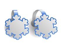 Blauwe die reclamewobblers als sneeuwvlokken wordt gevormd Stock Foto