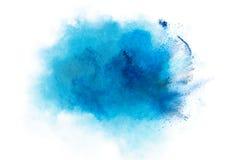 Blauwe die stofexplosie op witte achtergrond wordt geïsoleerd Royalty-vrije Stock Fotografie