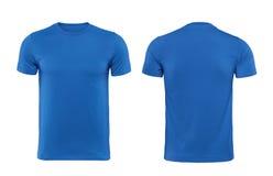 Blauwe die T-shirtsvoorzijde en rug als ontwerpmalplaatje wordt gebruikt Stock Foto's