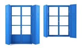 Blauwe die vensters op witte achtergrond worden geïsoleerd Royalty-vrije Stock Afbeeldingen