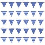 Blauwe die vlaginzameling met patroon op witte backgound wordt geïsoleerd royalty-vrije illustratie